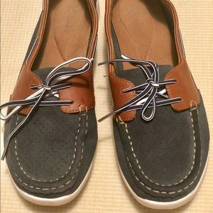 Clarks Brown, Blue Leather Lace-Up Boat Shoes, 8W